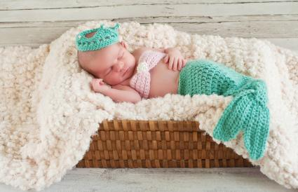 Baby Girl Wearing a Mermaid Costume