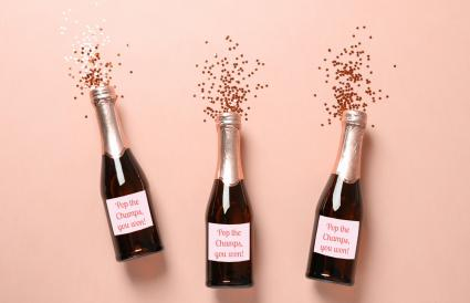 Champagne bottles and glitter