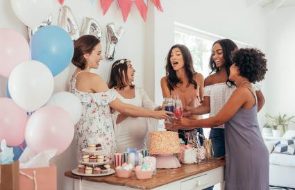 Women toasting at baby shower
