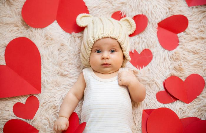 baby photoshoot with hearts