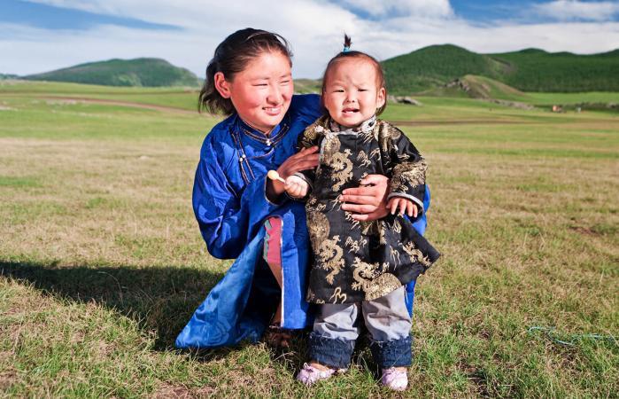 Mongolian mom and baby