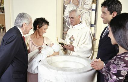Baby boy being baptized