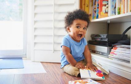 Surprised baby boy