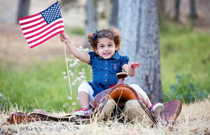 Cowgirl Cutie with American Flag