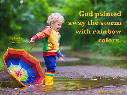 Child with colorful rainbow umbrella playing in the rain and rainbow baby image quote