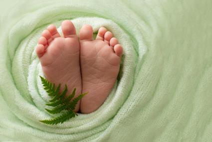 Foot of the newborn baby with a fern leaf