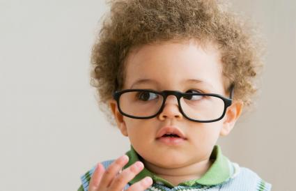 baby wearing eyeglasses