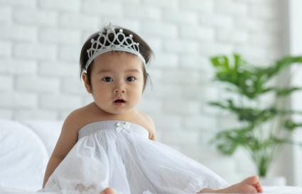 Cute Baby Girl Wearing Tiara