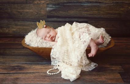 Newborn Baby Girl Wearing Crown