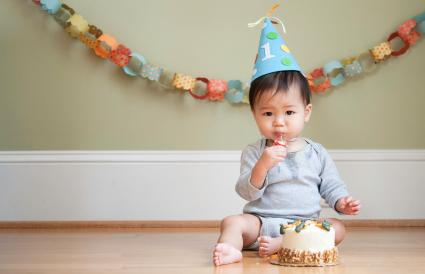 baby celebrating his First Birthday
