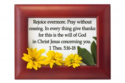 Bible quote in wood frame and yellow flower