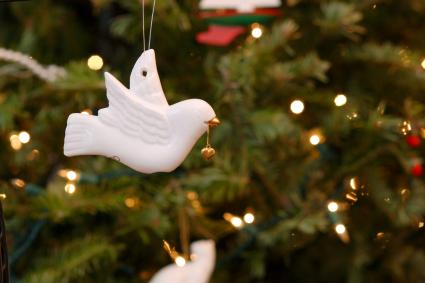 White dove ornament on a christmas tree