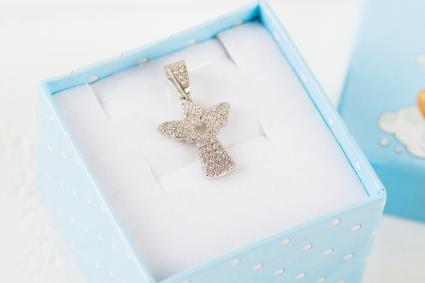 Silver pendant angel with diamonds in blue gift box