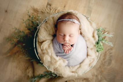 Newborn Baby Girl Swaddled in Prop Basket