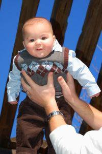 Baby boy wearing special occasion clothing