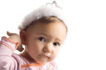 Baby girl wearing a tiara