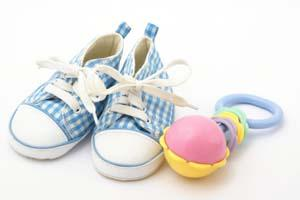 Sneakers and rattle baby memorabilia