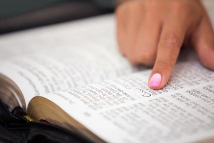 Leyendo la santa biblia