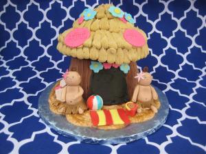 Pastel hawaiano Tiki Hut de baby shower