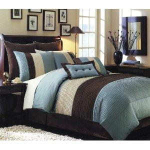 Chocolate Brown and Blue Bedding