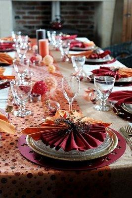 Peach-colored table runner and place settings