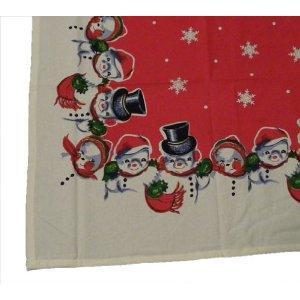 vintange snowman pattern tablecloth