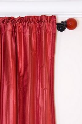 contemporary curtain rod with glass finial