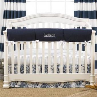 Customizable Navy Monogram Basics Crib Bedding Set
