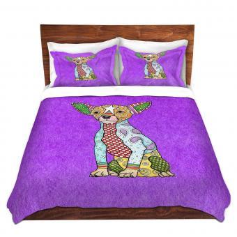 Chihuahua Dog Purple Duvet Cover Bedding Set