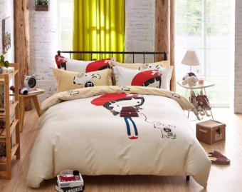 Beauty Girl & Her Dog Duvet Cover Bedding Set