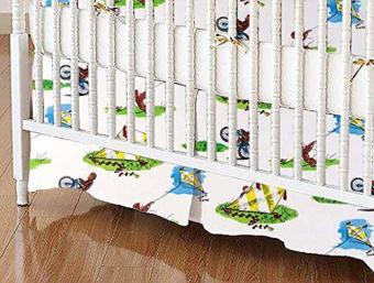 Curious George kite crib skirt