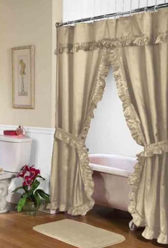 Lauren Double Swag Fabric Shower Curtain
