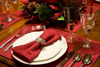 Holiday place setting on table