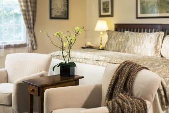 Beautiful bedding in master bedroom