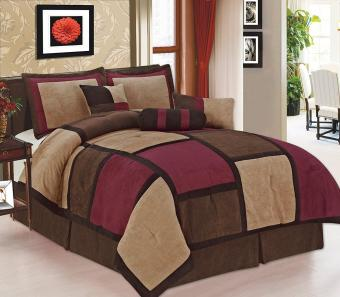 Legacy Decor 7 Piece Brown Burgundy & Beige Micro Suede Patchwork Comforter Bed-in-a-bag Set