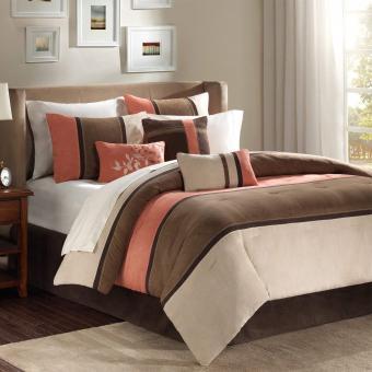 7 Piece Cal King, Luxurious Unique Classic Stripe Pattern Comforter Set