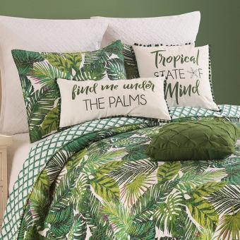 Tropical Palm Frond Print Bedspread