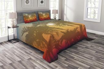 Tropical Palm Tree Print Bedspread