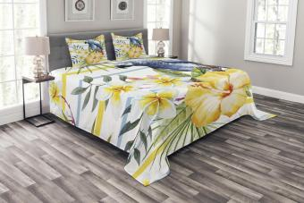 Parrot and Yellow Orchid Tropical Bedspread