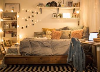 Decorated dorm room