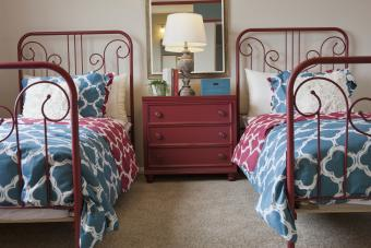 Decorated twin beds