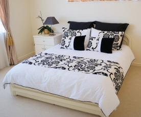 photo of a black and white duvet