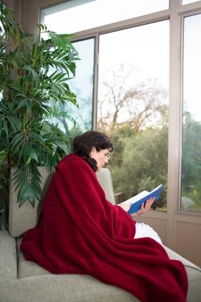 Woman wearing a Snuggie