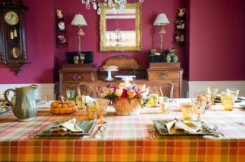 Fall plaid Thanksgiving tablecloth