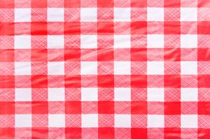 Vinyl checkered tablecloth