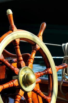Helm wheel of ship
