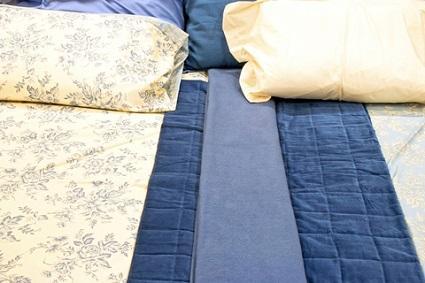 Denim and floral bedding