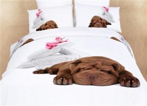 Sleepy Dog Themed Girls Bedding Duvet Cover Set
