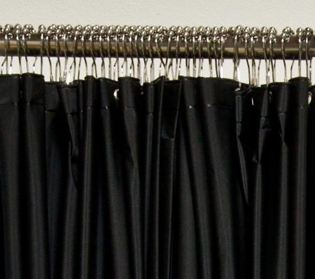 Storm Plumbing - Black vinyl shower curtain