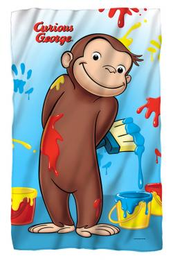 Curious George paint fleece blanket
